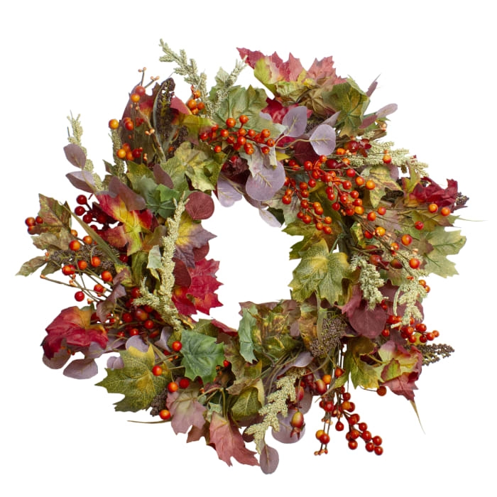 Leaves and Berries Artificial Fall Harvest Wreath - Unlit