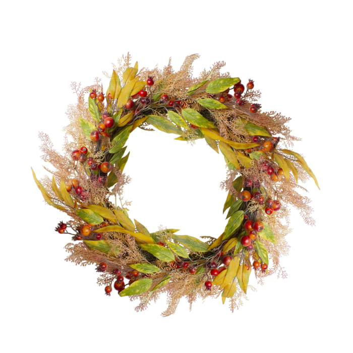 Yellow and Orange Berry and Leaves Fall Harvest Artificial Wreath - Unlit