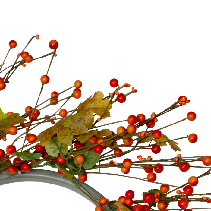 Orange Berries and Yellow Leaves Fall Harvest Artificial Wreath