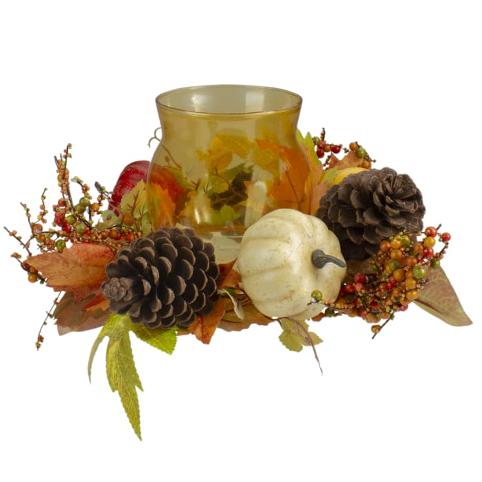 Pumpkin  Berry and Pine Cone Fall Harvest Tealight Candle Holder