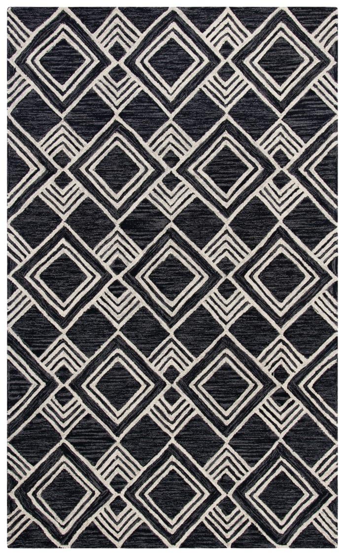 Essence Black Wool Rug 5' x 8'