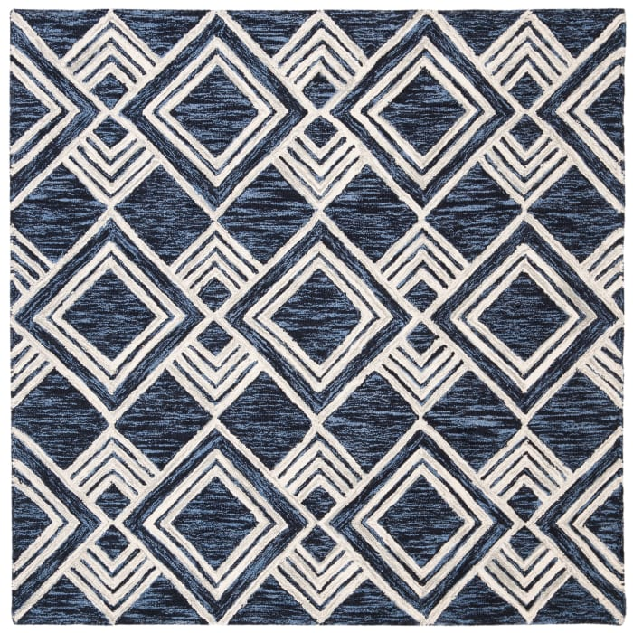 Essence Blue Wool Rug 5' x 5'