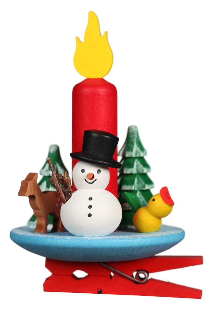 Christian Ulbricht Ornament - Clip on Candle With Snowman