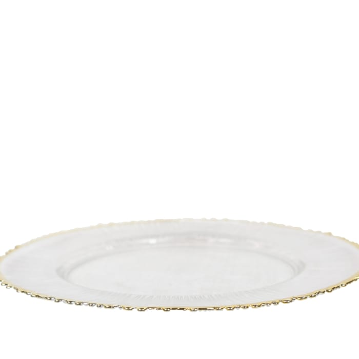 Pukara Gold Rimmed Glass Charger Set of 12