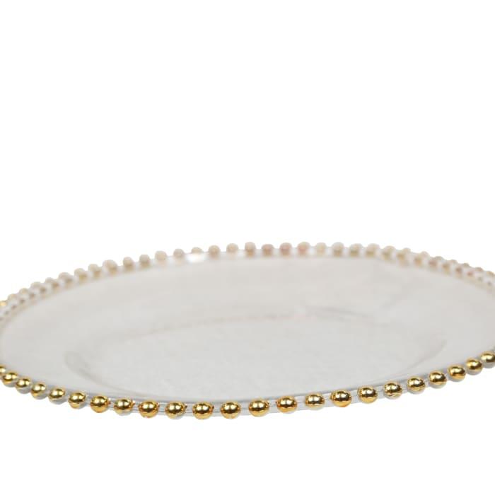 Satyam Gold Beaded Glass Charger by Amrita Sen Set of 12