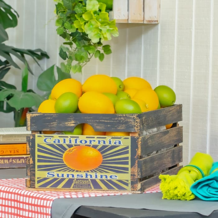 Vintage-Style Wood Fruit Crate California Sunshine