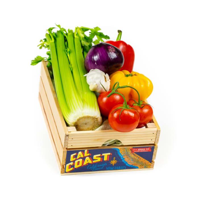 Vintage-Style Wood Vegetable Crate - Cal Coast