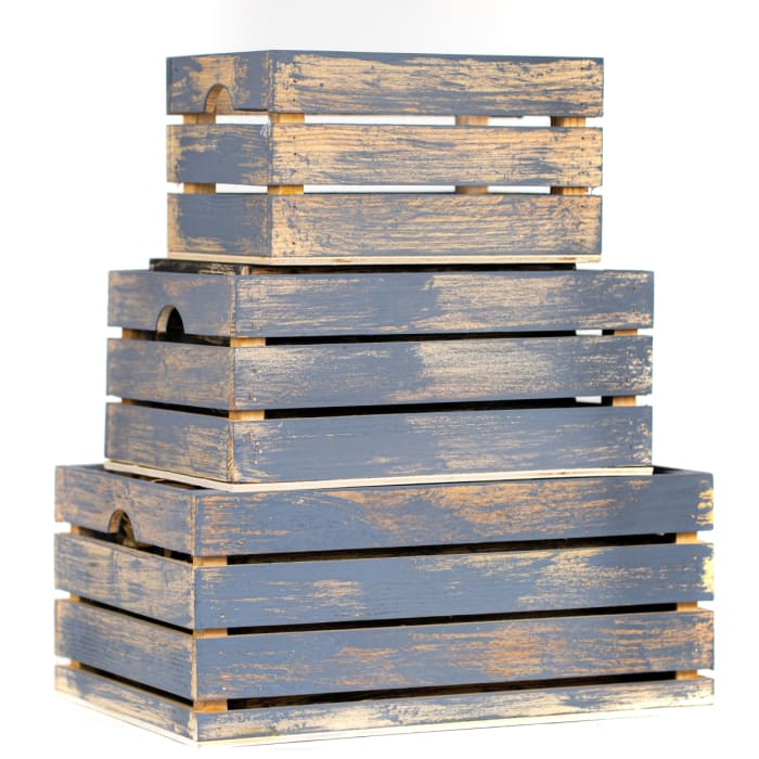 Rustic Decorative Wood Crates (Set of 3)