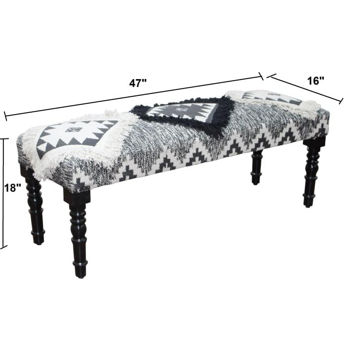 Modern Southwestern Tufted Bench
