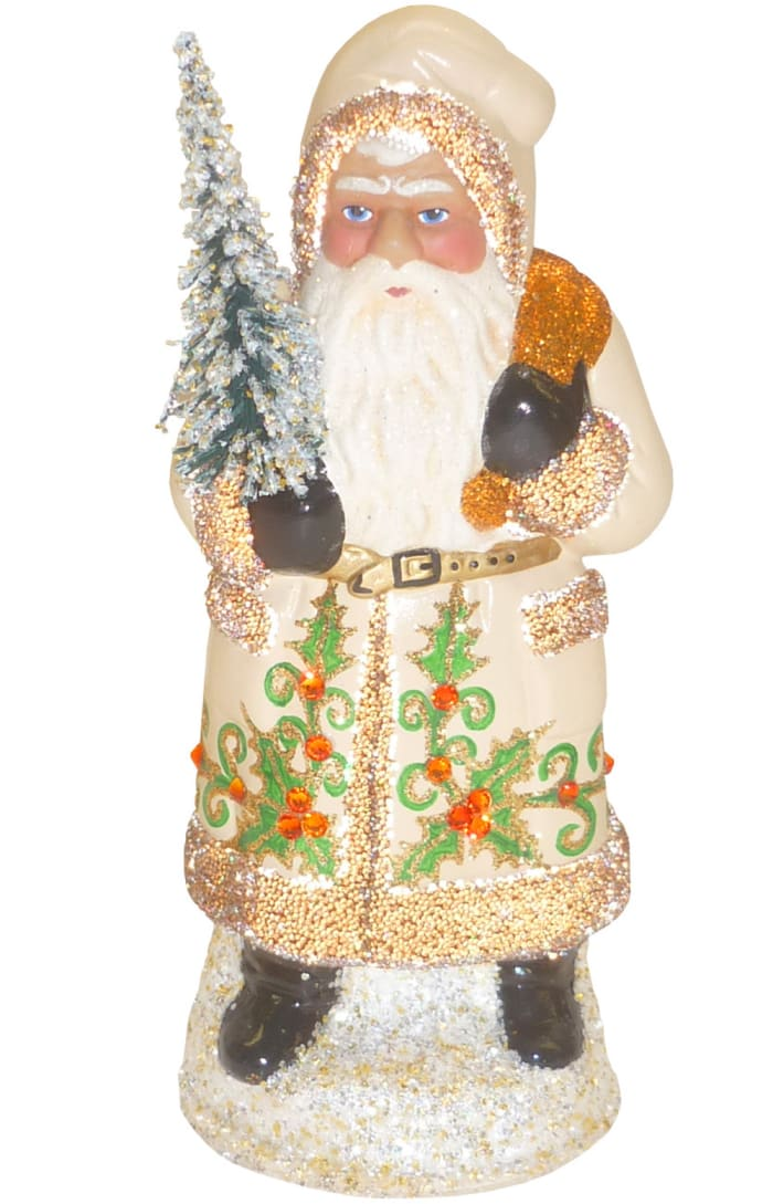 Schaller Paper Mache Candy Container - Santa With Cream Coat and Holly Details