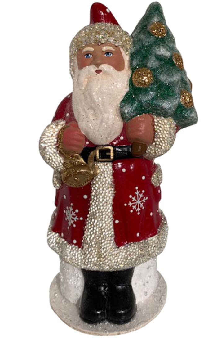 Schaller Paper Mache Candy Container - Santa With Snowflake Coat