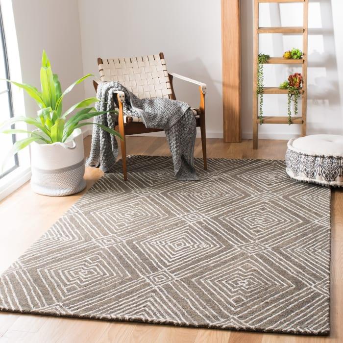 Gray Wool Rug 5' x 8'