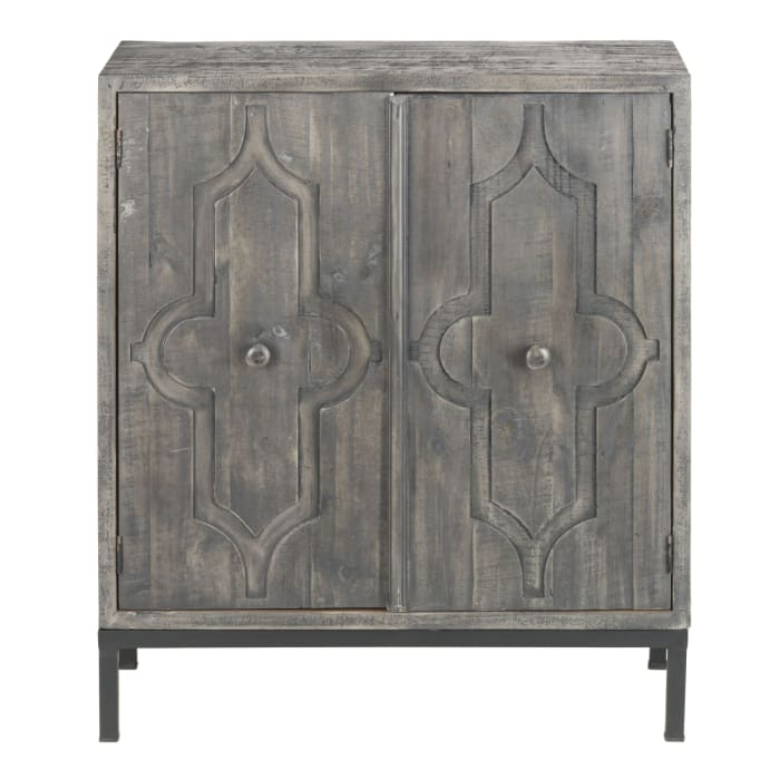 Wood 2-Door Console Metal Base Cabinet Charcoal Gray