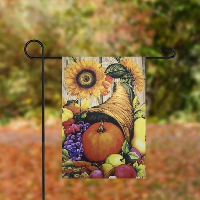 Cornucopia and Flowers Autumn Harvest Flag