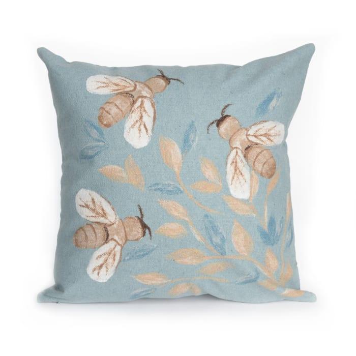 Bees Aqua Outdoor Pillow