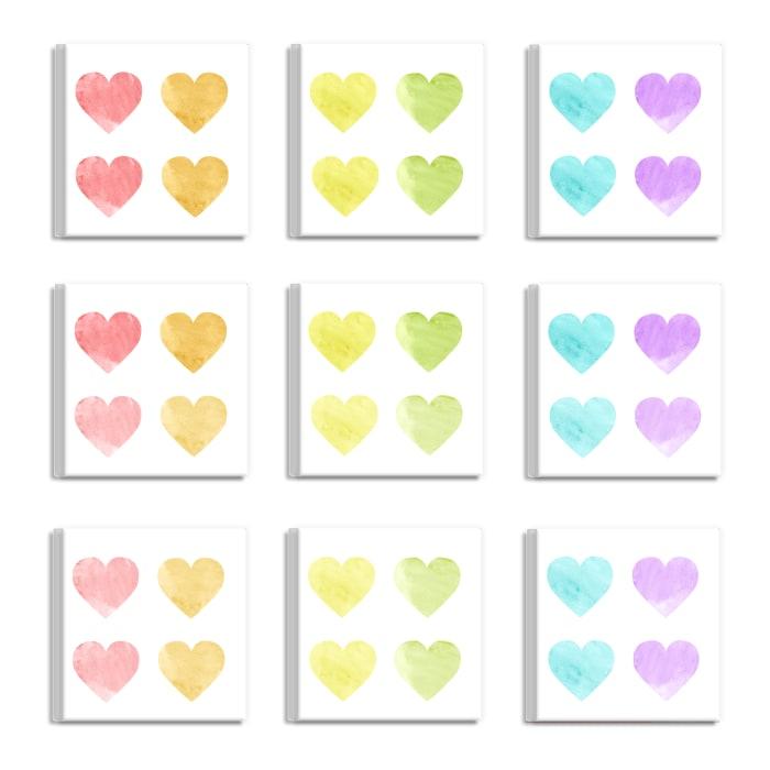 Pastel Hearts 9 Piece Wall Plaque