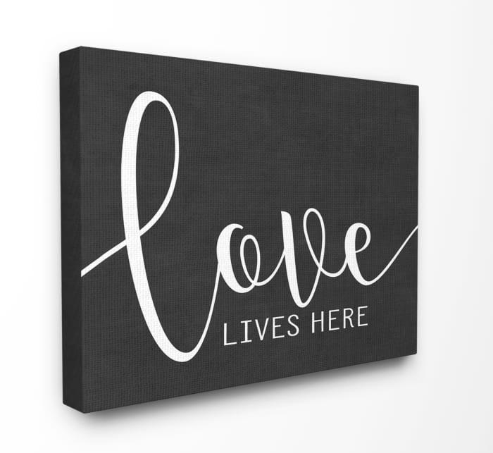 Black and White Love Script Canvas Art