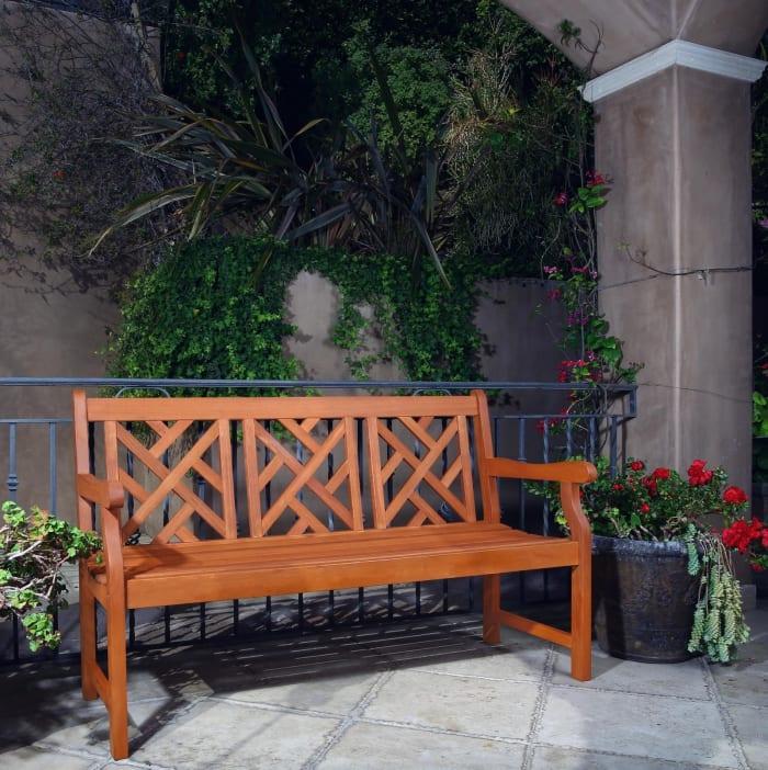 Malibu Brown 5' Outdoor Eucalyptus Wood Garden Bench