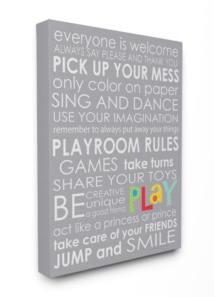 Playroom Rules Canvas Wall Art