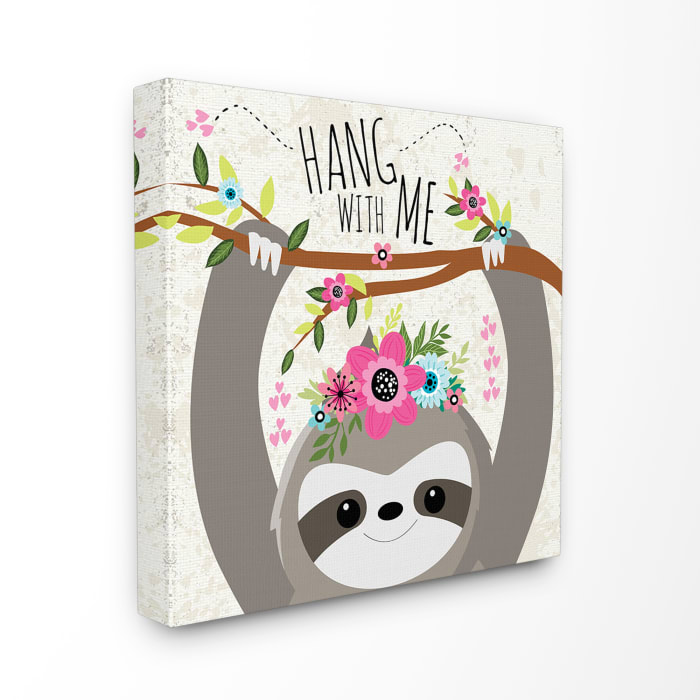 Hang With Me Sloth & Flowers Wall Art