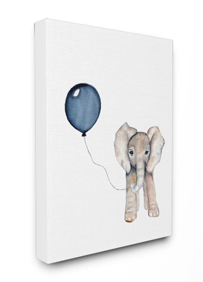 Blue Party Elephant Wall Art