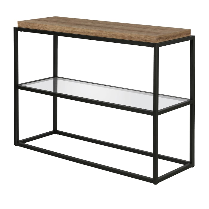 Hector Blackened Bronze and Rustic Oak Accent Table