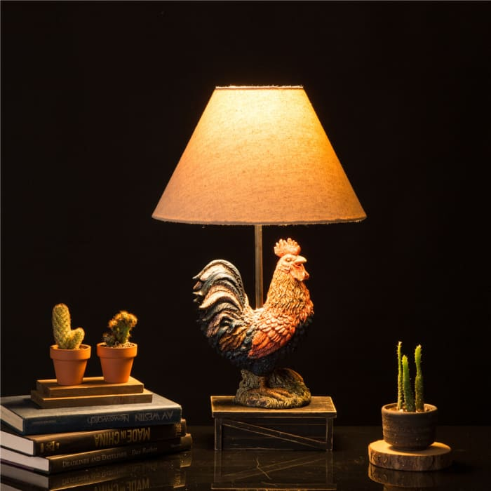 Farmhouse Polyresin Rooster Table Lamp
