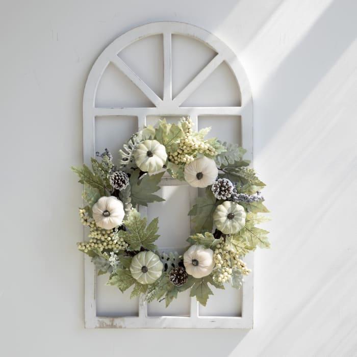Wooden Window Frame With Pumpkin Wreath