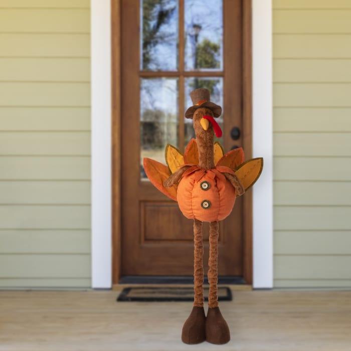 Fabric Turkey Standing Decor with Telescoping Legs