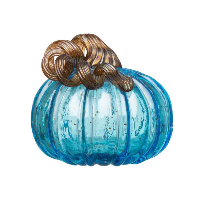 Set of 3 Blue Handblown Glass Pumpkin