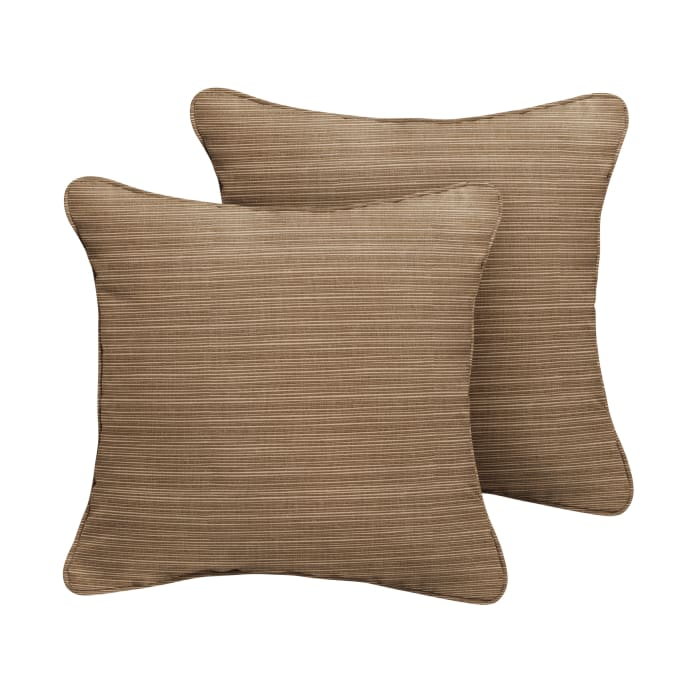 Sunbrella Corded in Dupione Walnut Outdoor Pillows Set of 2