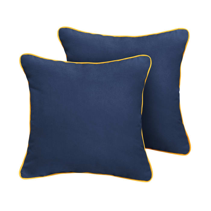 Sunbrella Corded in Canvas Navy with Canvas Sunflower Yellow Outdoor Pillows Set of 2