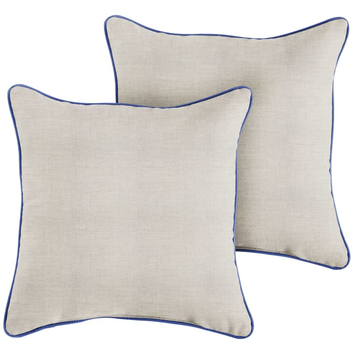 Sunbrella Corded in Cast Silver with Canvas True Blue Outdoor Pillows Set of 2