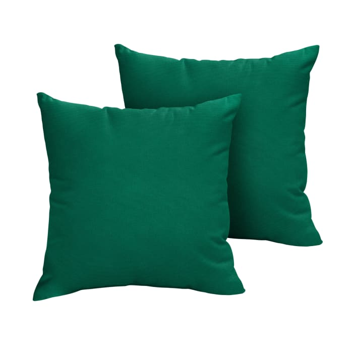 Sunbrella Knife Edge in Canvas Forest Green Outdoor Pillows Set of 2