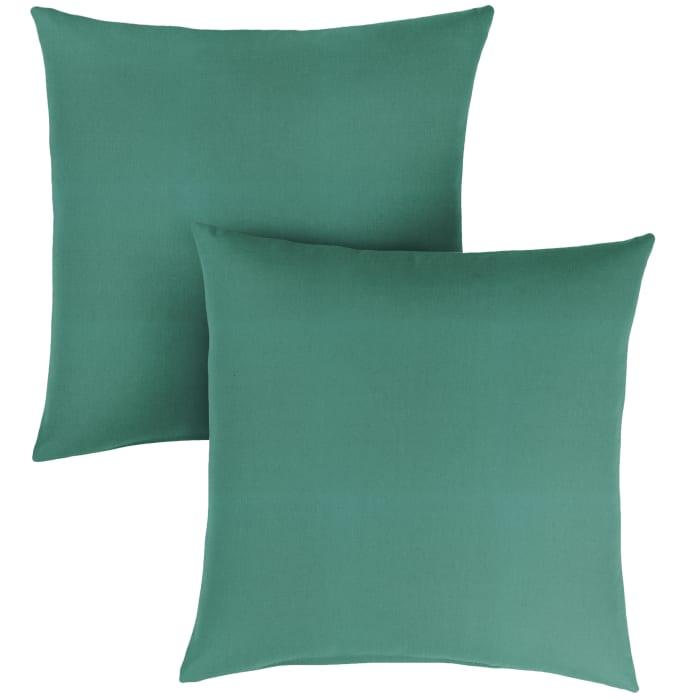 Sunbrella Knife Edge in Canvas Teal Outdoor Pillows Set of 2