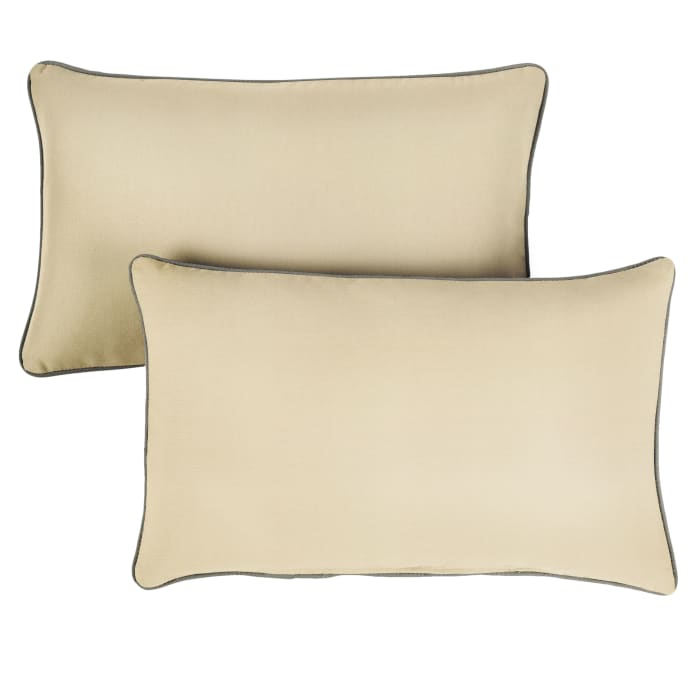 Sunbrella Antique Oversized Corded in Canvas Beige with Canvas Charcoal Outdoor Pillows Set of 2