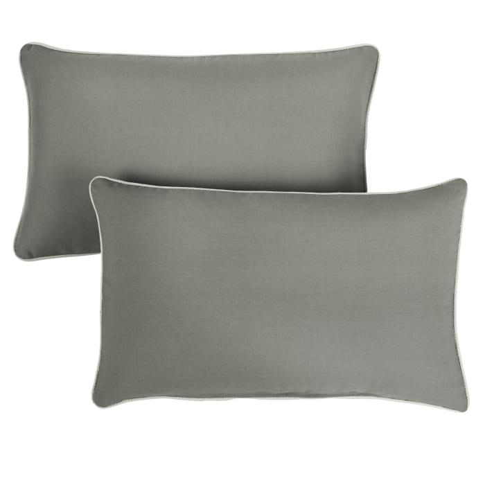 Sunbrella Oversized Corded in Canvas Charcoal with Canvas Natural Outdoor Pillows Set of 2