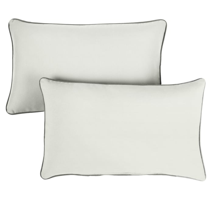 Sunbrella Oversized Corded in Canvas Natural with Canvas Charcoal Outdoor Pillows Set of 2