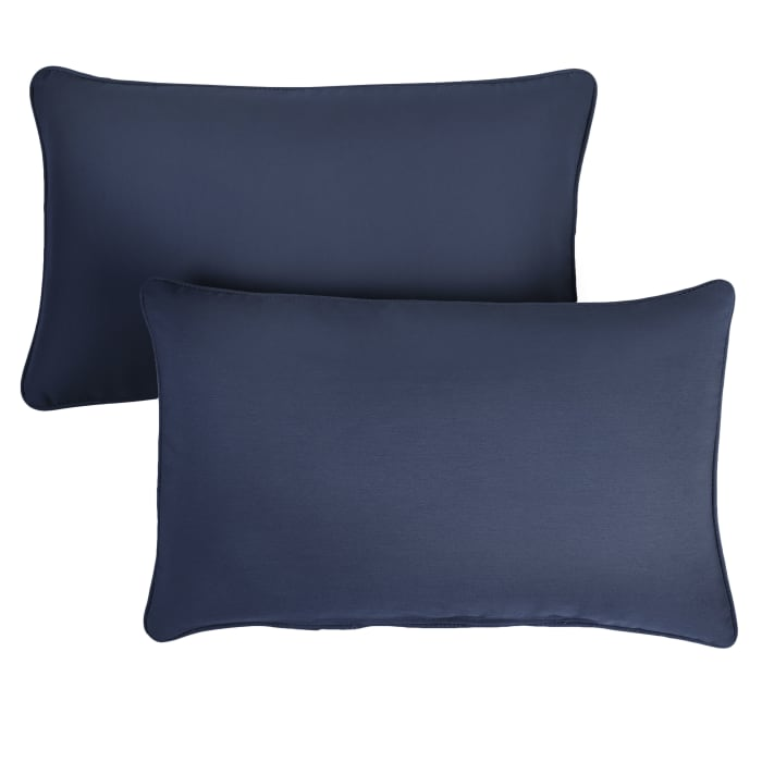 Sunbrella Oversized Corded in Canvas Navy Outdoor Pillows Set of 2