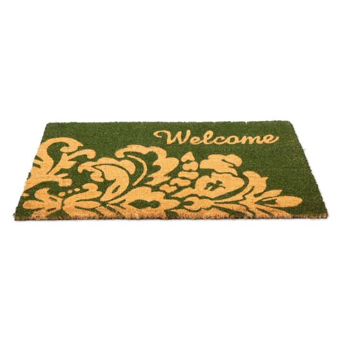 J&M Green Welcome Vinyl Back Coir Doormat 18x30