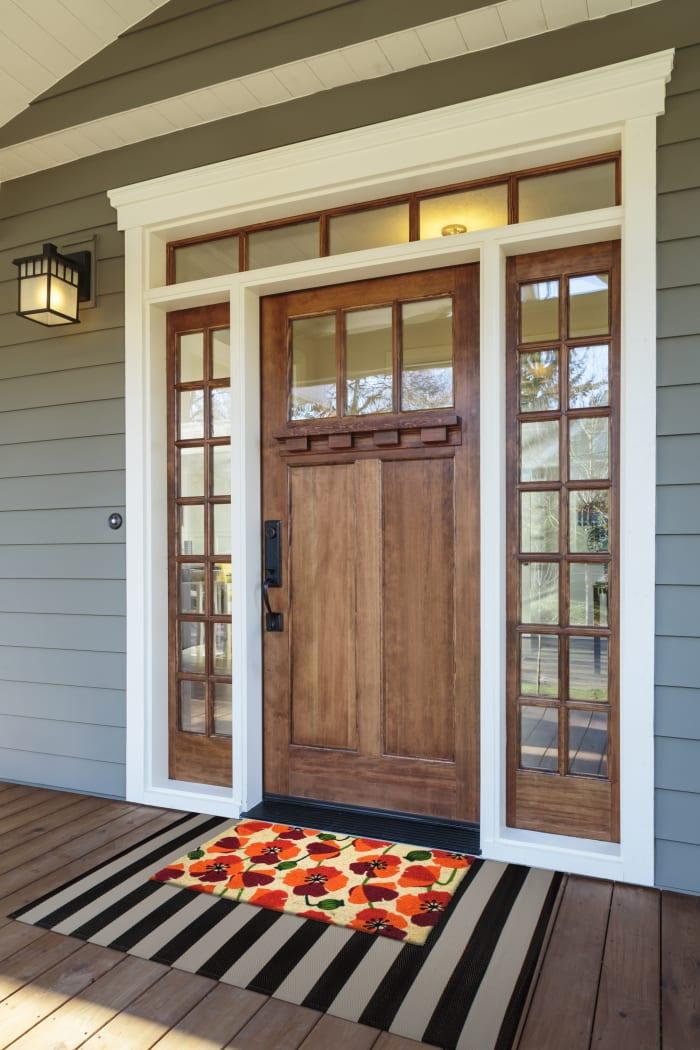 J&M Poppies Vinyl Back Coir Doormat 18x30