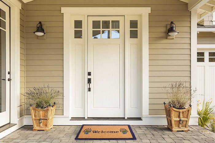J&M Welcome Lavender Vinyl Back Doormat 18x30