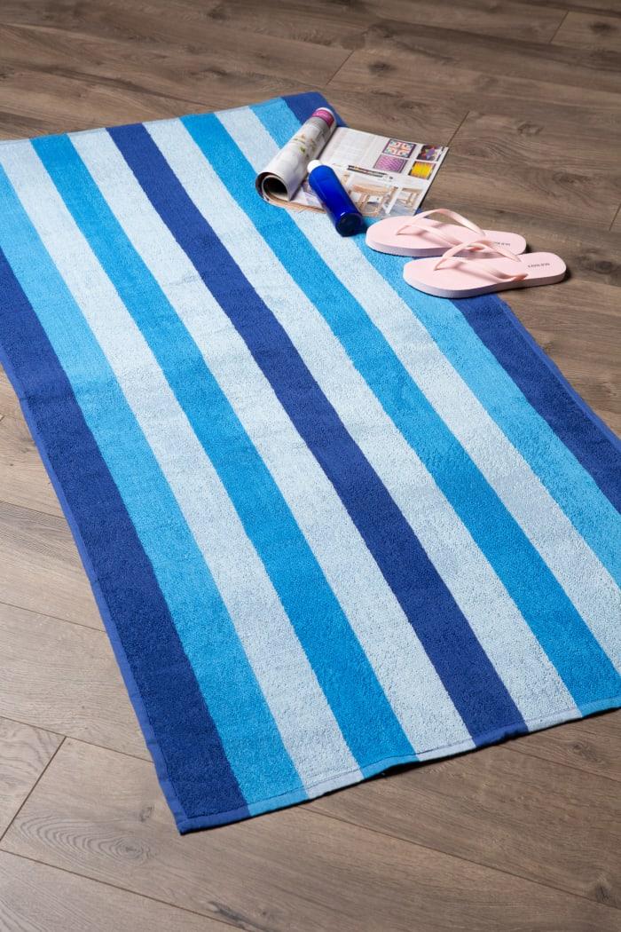 J&M Cabana Blue Stripe Beach Towel