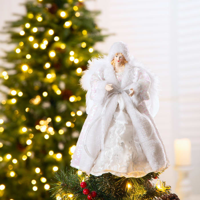 White Faux Fur Christmas Angel Tree Top