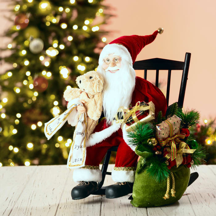 Christmas Sitting Santa Figurine with Wooden Rocking Chair