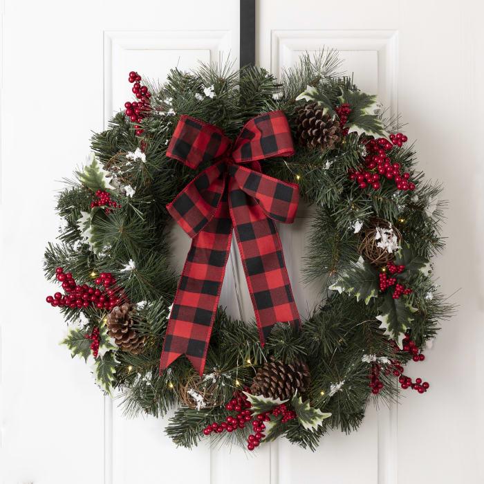 LED Pre-Lit Greenery Buffalo Bow Berry Holly Pine Cone Rattan Ornament Wreath