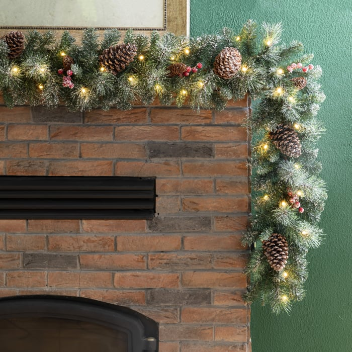 Pre-Lit Glittered Pine Cone Christmas Wreath and Garland Set with Warm White LED Light and Red Canvas Storage Bag