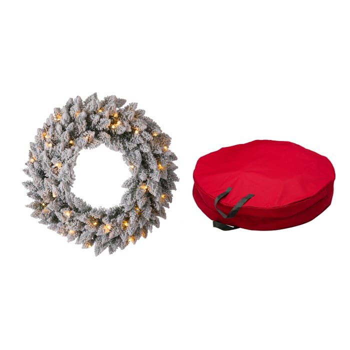 Pre-Lit Snow Flocked Christmas Wreath with Warm White LED Light and Red Canvas Storage Bag