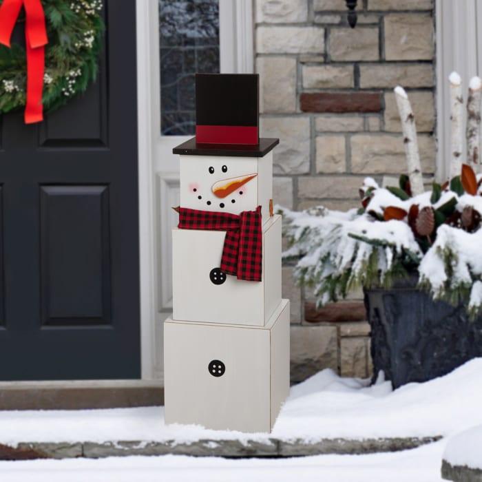 Wooden Snowman Double-edage Porch Decor