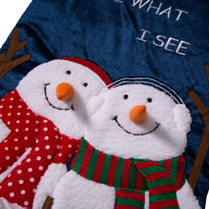 Velvet 3D Snowman Oversized Stocking